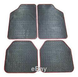 4x Mats Rubber Edge Top Car Back To Black Red
