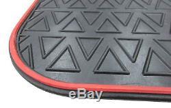 4x Rubber Floor Mat High Edge Car Front Rear Black Red