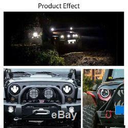 Headlight Angle Eye For Jeep Wrangler Jk Tj Lj 7 Inch Led White / Yellow Fire