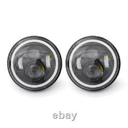 Headlight Front Angle Eye For Jeep Wrangler Jk Tj Lj 7 Inch Led White/yellow Fire