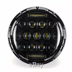 Headlights For Jeep Wrangler Jk Tj Lj 7 Inch 75w Hi-lo Beam 13 Led Black