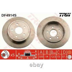 Trw 2x Full Painted Brake Discs Black Df4914s