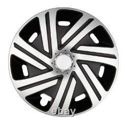4x Premium Design Enjoliveurs Peint 15 Pouces #63 Argent Noir