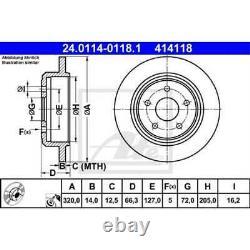 ATE 2x Disques de Frein Plein Recouvert 24.0114-0118.1