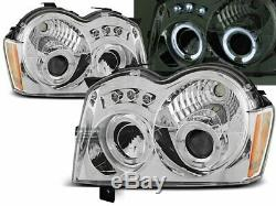NEUF! Projecteurs pour Chrysler Jeep GRAND CHEROKEE 2005-2008 Angel Eyes Chrome