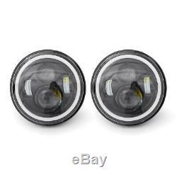 Phare avant Angle Eye pour Jeep Wrangler JK Tj Lj 7 Pouce LED Blanc/Jaune Feu