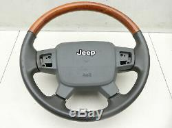 Volant de direction Airbagvolant décor de bois et cuir pour Jeep Grand Cherokee